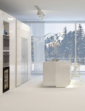 kitchen island: Clean Modern White Kitchen with Island and View of Snowy Mountain Landscape