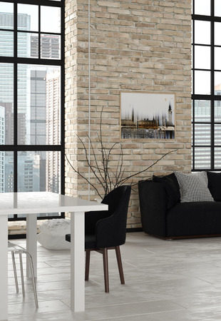 realty residence: Elegant Black and White Furniture Inside the Architectural Living Room with Glass Windows.