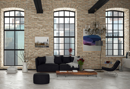 Stylish Modern Living Room Inside Architectural Building with Black Chairs, Wooden Table and Chandelier. Banco de Imagens