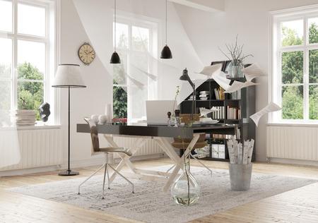 emphasising: Contemporary Architectural Interior design di un area di lavoro All'interno di una casa spaziosa, sottolineando l'Worktable Archivio Fotografico
