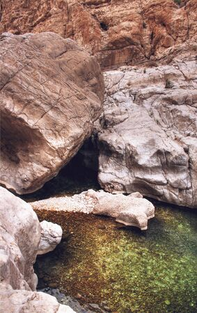 bani: Rock pool in Wadi Bani Khalid, a wadi about 200 km from Muscat, Oman, in the Sharqiyah region.