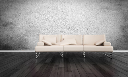 uncarpeted: Modern White Sofa in Empty Room with Hardwood Floors and Grey Textured Wall Stock Photo