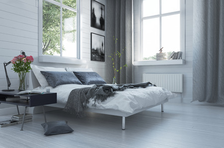 bedroom: Luxury grey and white modern bedroom interior with a contemporary double divan and bedside table with flowers below large windows with curtains Stock Photo