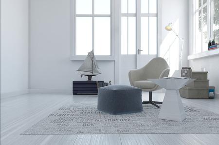 3d mit einem bequemen Sessel und Sitzkissen in einem weißen Raum mit einem großen Fenster und Außentür übertragen von einem minimalistischen modernen Wohnbereich Standard-Bild