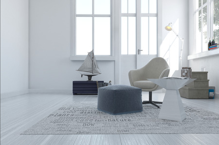living room minimalist: 3d render of a minimalist modern living area with a comfortable armchair and pouffe in a white room with a large window and exterior door Stock Photo