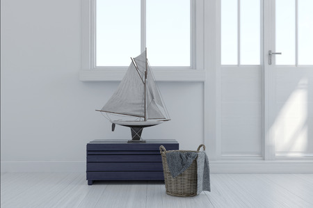 nautical: Nautical themed interior decor in a modern white room with a sailboat ornament on a kist with a bucket and towel in front of exterior doors