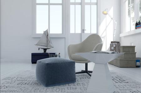 superficie: Simple sala de estar gris y blanco en una amplia sala de planta abierta con grandes ventanales y una decoración temática náutica