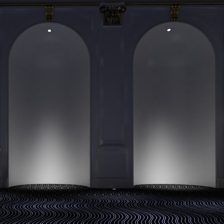 down lights: Two empty elegant arched alcoves with down lights illuminating the interiors over a modern carpet with wavy design Stock Photo