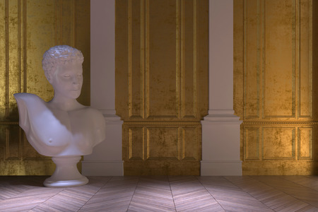 wood carving 3d: Luxury vintage interior with a large white marble bust standing on a wooden herringbone parquet floor in front of two white columns in a gold paneled wall