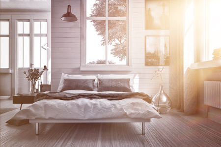 flare: Luxury spacious airy bedroom lit by warm glowing sun flare streaming in through one of the multiple windows with modern grey and white decor and a double divan bed