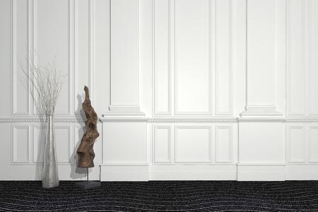 현대 조각과 꽃 배열이 벽판과 copyspace와 깔린 흰 벽 앞에 서 현대와 고전 건축의 조화