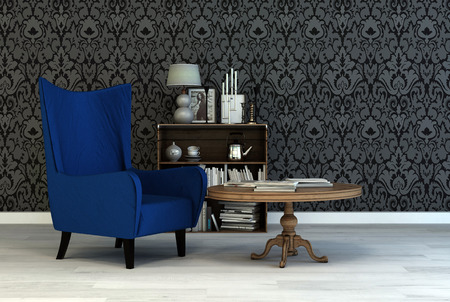 arabesque wallpaper: Single vintage blue armchair in a classic living room interior with arabesque wallpaper a small table and bookcase with books and ornaments