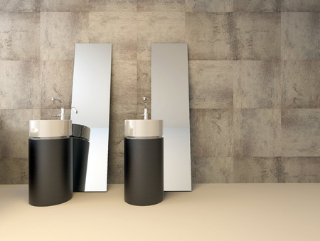 travertine house: Two contemporary cylindrical brown hand basins in a luxury bathroom interior with travertine tiles on the wall and loose mirrors leaning against the wall in minimalist style Stock Photo