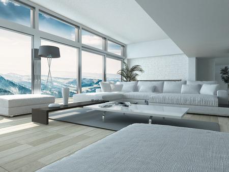 Moderne Wohnzimmer-Design mit eleganten weißen Couches und Tabelle, Innenarchitekturhaus mit Glasfenstern Stil Standard-Bild