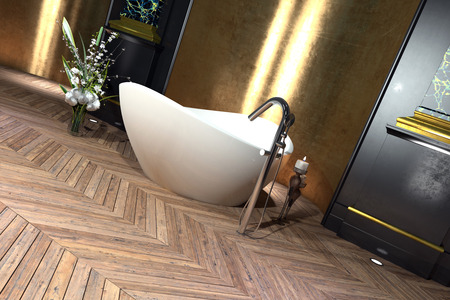 Modern freestanding boat shaped bathtub in a classical bathroom interior with hardwood parquet floor with herringbone pattern