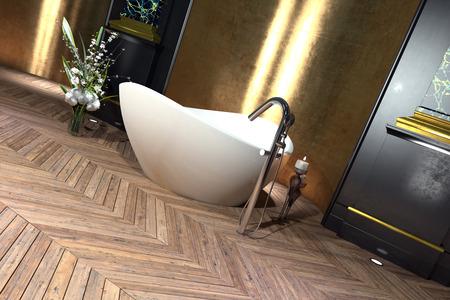 Modern freestanding boat shaped bathtub in a classical bathroom interior with hardwood parquet floor with herringbone pattern