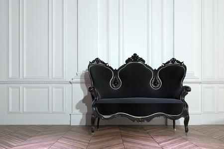 黒のビンテージ踏みならされたクラスの家のインテリアのヘリンボーン パターンを持つ裸の寄せ木細工の床に白いパネルをはめられた壁木製ソファ