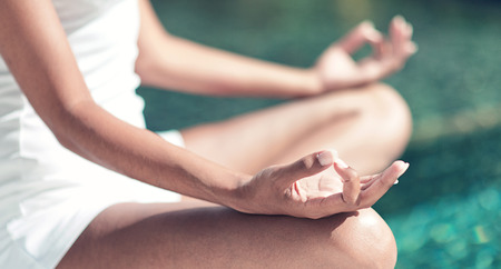 Close up Hand Gesture of Woman Doing an Outdoor Lotus Yoga Position