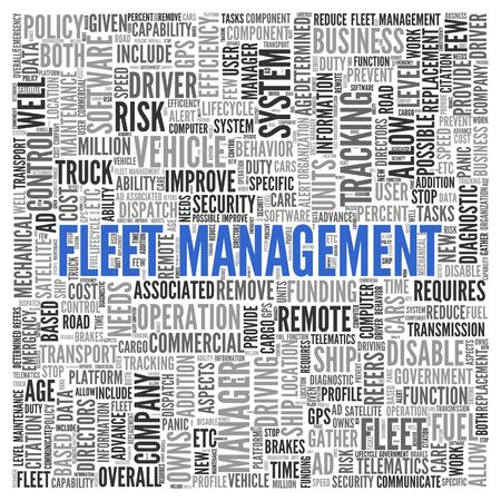 Close up FLEET MANAGEMENT Text at the Center of Word Tag Cloud on White Background.