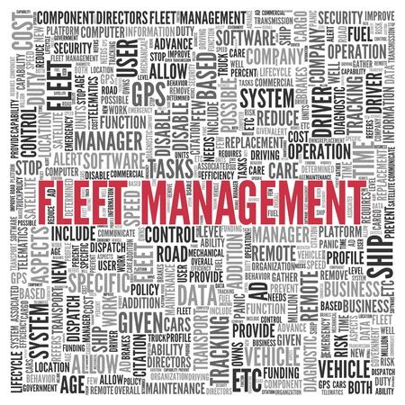 fleet: Close up FLEET MANAGEMENT Text at the Center of Word Tag Cloud on White Background.