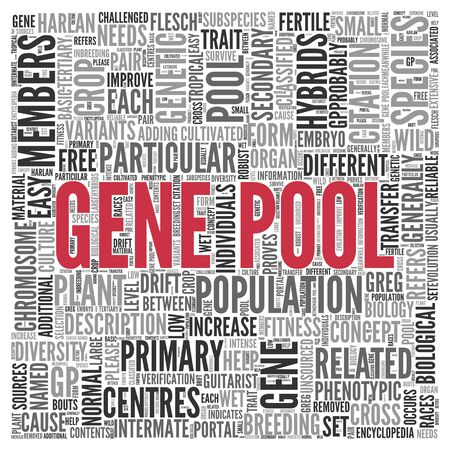 gene: Close up GENE POOL Text at the Center of Word Tag Cloud on White Background. Stock Photo