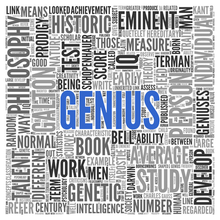 average guy: Close up GENIUS Text at the Center of Word Tag Cloud on White Background. Stock Photo