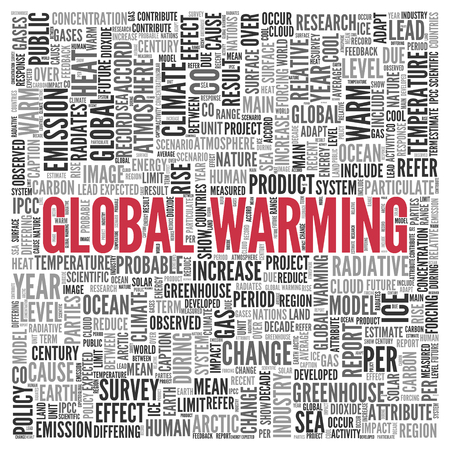 tag cloud: Close up GLOBAL WARMING Text at the Center of Word Tag Cloud on White Background. Stock Photo