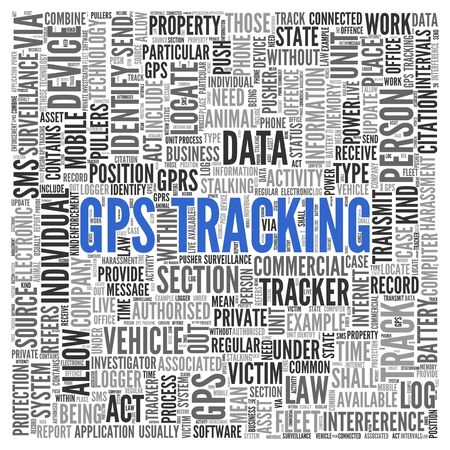 gps device: Close up GPS TRACKING Text at the Center of Word Tag Cloud on White Background.