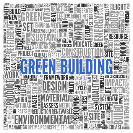 Close up GREEN BUILDING Text at the Center of Word Tag Cloud on White Background. photo