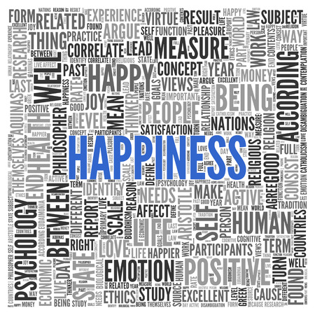 tag cloud: Close up HAPPINESS Text at the Center of Word Tag Cloud on White Background. Stock Photo