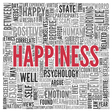 tagcloud: Close up HAPPINESS Text at the Center of Word Tag Cloud on White Background. Stock Photo