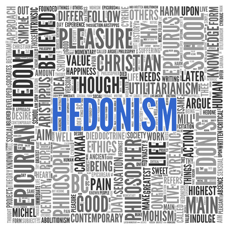 philosopher: Close up HEDONISM Text at the Center of Word Tag Cloud on White Background. Stock Photo