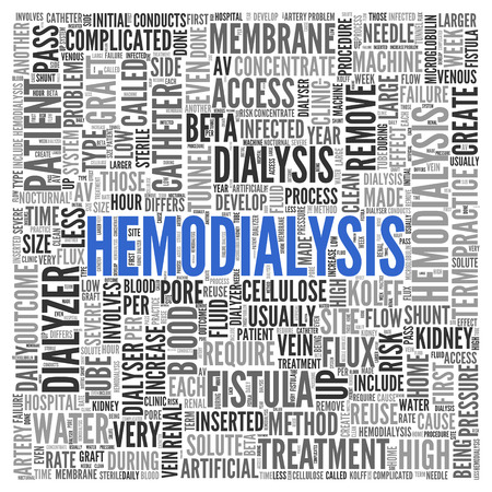 membrane: Close up HEMODIALYSIS Text at the Center of Word Tag Cloud on White Background.
