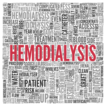 Close up HEMODIALYSIS Text at the Center of Word Tag Cloud on White Background. photo