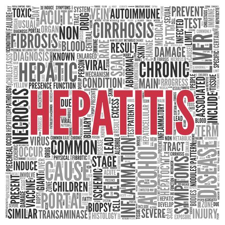 necrosis: Close up HEPATITIS Text at the Center of Word Tag Cloud on White Background. Stock Photo