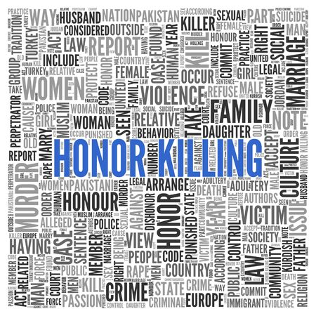 killing: Close up HONOR KILLING Text at the Center of Word Tag Cloud on White Background. Stock Photo