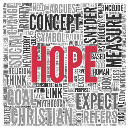 tagcloud: Close up HOPE Text at the Center of Word Tag Cloud on White Background. Stock Photo