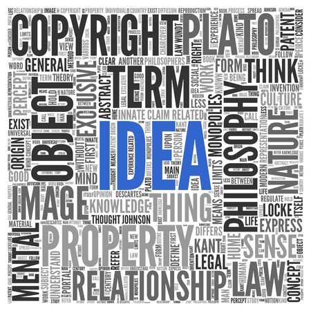 tag cloud: Close up IDEA Text at the Center of Word Tag Cloud on White Background. Stock Photo