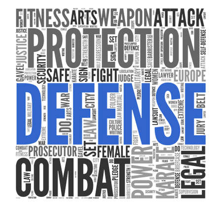 tag cloud: Close up DEFENSE Text at the Center of Word Tag Cloud on White Background.