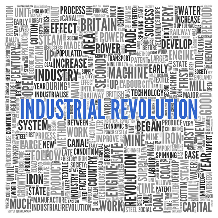 tag cloud: Close up INDUSTRIAL REVOLUTION Text at the Center of Word Tag Cloud on White Background.