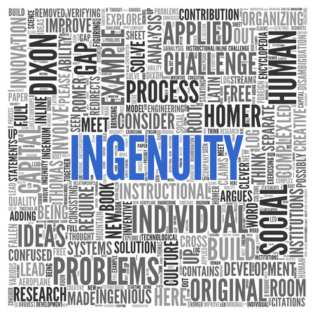 tagcloud: Close up INGENUITY Text at the Center of Word Tag Cloud on White Background.