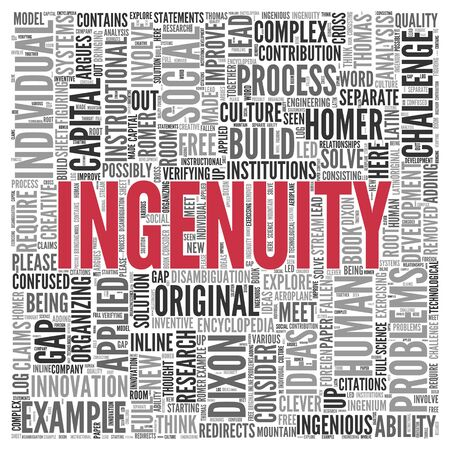 ingenuity: Close up INGENUITY Text at the Center of Word Tag Cloud on White Background.