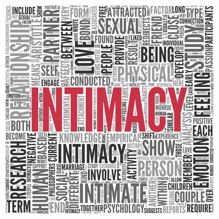 intimacy: Close up INTIMACY Text at the Center of Word Tag Cloud on White Background.