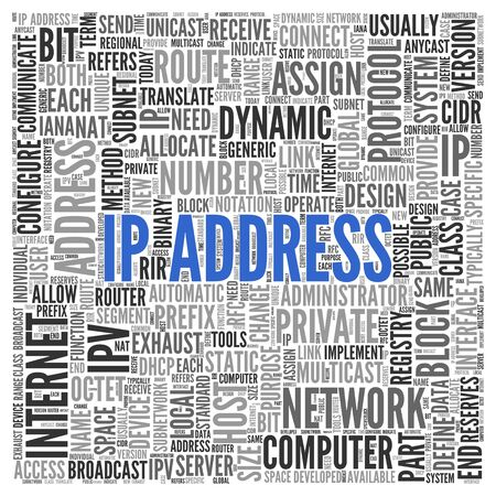 assign: Close up IP ADDRESS Text at the Center of Word Tag Cloud on White Background. Stock Photo