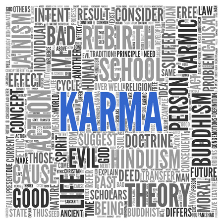 doctrine: Close up KARMA Text at the Center of Word Tag Cloud on White Background. Stock Photo