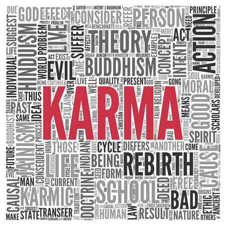 good karma: Close up KARMA Text at the Center of Word Tag Cloud on White Background. Stock Photo