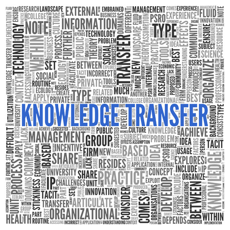 tag cloud: Close up Blue KNOWLEDGE TRANSFER Text at the Center of Word Tag Cloud on White Background.