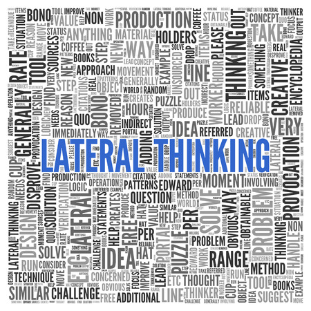 lateral: Close up Blue LATERAL THINKING Text at the Center of Word Tag Cloud on White Background.