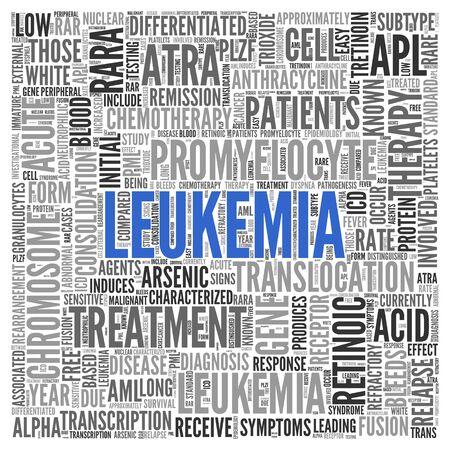 leucemia: Cierre de azul LEUCEMIA Texto en el Tag Centro de nube de la palabra en el fondo blanco.