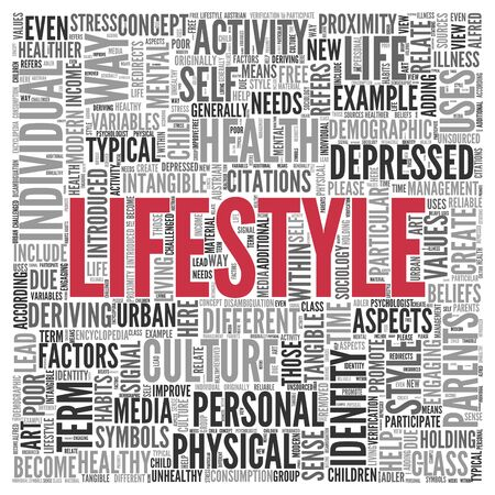 tagcloud: Close up Red LIFESTYLE Text at the Center of Word Tag Cloud on White Background. Stock Photo